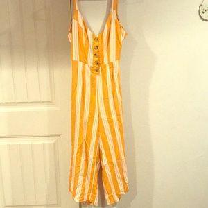 Mustard Yellow/White Striped Jumpsuit